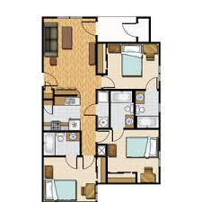 apartment 3 bedroom. floor plan rendering apartment 3 bedroom a