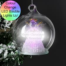 Personalised Light Up Christmas Baubles A Beautiful Personalised Glass Bauble That Features A Light