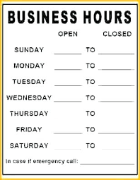 printable store hours sign opening hours sign template business hours template word perfect