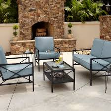 Essential Garden Anniston Blue 4 Piece Seating Set Kmart