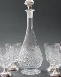 signed hawkes cut glass wine decanter 4 piece sterling glass stems hand cut
