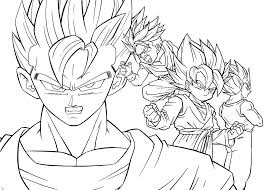 dragon ball z coloring pages goten anime for kids printable free prepossessing
