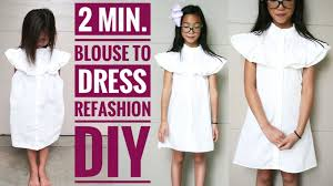 diy blouse to dress refashion in 2 mins how to transform old clothes