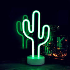 Cactus Neon Light Cactus Neon Signs Neon Lights With Holder Base Decor Light Led Cactus Sign Shaped Decor Light Marquee Signs Wall Decor For Christmas Birthday