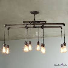 43 inches wide large 10 light ceiling pendant in steel hanging pipe light