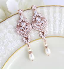 rose gold earrings bridal earrings wedding jewelry wedding earrings statement earrings chandelier earrings bridal jewelry earrings
