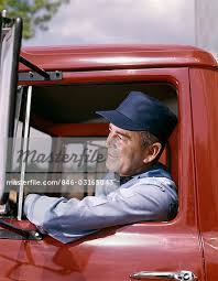 1960s Man Truck Driver Delivery Hat Smile Stock Photo Masterfile