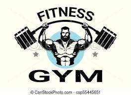Fitness Gym Logo With Athletic Man Training Black On White Background