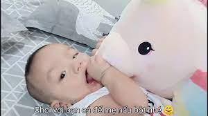 Bột thịt lợn - hoa thiên lý #cho bé Quang #6m+ - YouTube