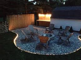 Rope Lighting Ideas Outdoors Backyard Fire Pit Project Fire Pit Backyard Backyard