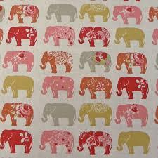 Curtain Fabric Clarke Clarke Elephants Spice Cotton Curtain Fabric Closs
