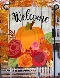 personalized garden flag welcome fall