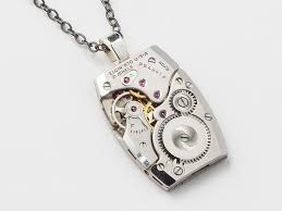 steampunk necklace watch movement gears elgin silver tank style mens pendant necklaces
