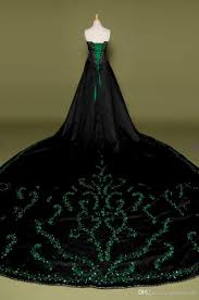 black wedding dress with green embroidery gothic bridal gowns