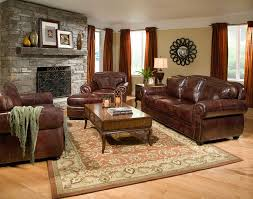 classic living room decorating ideas with brown leather sofa and carpet furniture