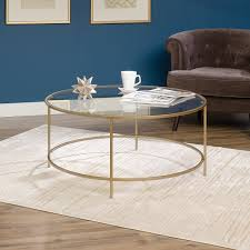 item 2 sauder international lux round coffee table glass surface in satin gold finish sauder international lux round coffee table glass surface in satin