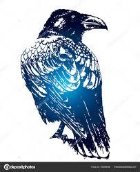 ворон готические эскиз татуировки векторное изображение