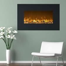 electric fireplace color changing wall mount floor stand in black
