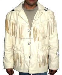 cowboy western men s leather jacket fringes bead