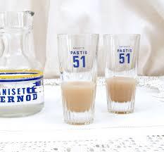 French Bistro Decor Set 2 Vintage French Pastis 51 Glasses French Bistro Decor Retro