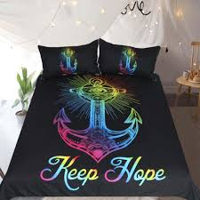 colorful anchor printed duvet cover set 3pcs multicolor queen