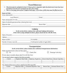 Travel Itinerary Template 6 Templates Word Excel For Visa ...