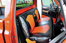 1984 chevrolet c10 interior black and orange vinyl bench seat hot rod network