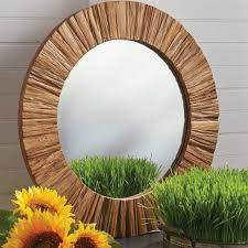 rustic wood framed round wall mirror