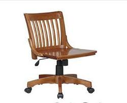 wooden arms leather office chair with locking wheels fohb 36 1