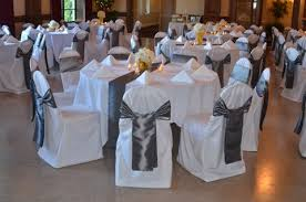 yellow and gray wedding inspiration dominion house weblog Wedding Decorations Yellow And Gray silver taffeta sashes and silver table runners for their wedding reception wedding decorations yellow and gray