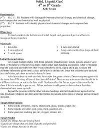 Solid Liquid Gas 4 Th Or 5 Th Grade Kelly Krupa Pdf