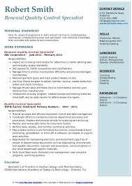 Sample Of Modern Resume For Quality Assurance Specialist Quality Control Specialist Resume Samples Qwikresume