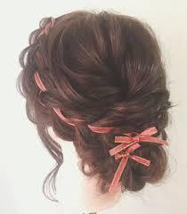 Tomimatsu Kaoriさんのヘアスタイル バレンタインリボン編みこ
