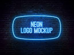 Neon Light Logo Mockup Neon Logo Mockup Psd Template Neon Logo Neon Psd Templates