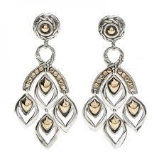john hardy sterling silver 18k yellow gold naga chandelier earrings 200417