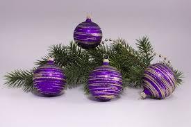 4 Kugeln 6cm Violett Matt Gold Geringelt Weihnachtskugeln Aus Lauscha