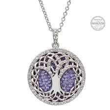 tanzanite swarovski crystals celtic tree of life pendant