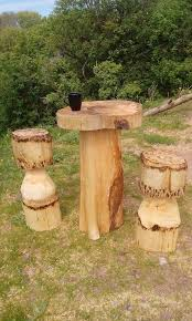chainsaw carving coffee breakfast table set with two mushroom stools