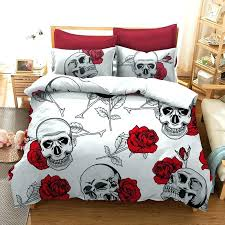 skulls duvet cover rose skull bedding sets single set quilt dimensions australia