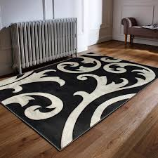 elude hand carved grey and black rug