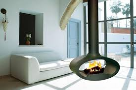 Contemporary interior design with hanging fireplaces