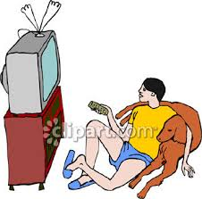 boy watching tv clipart. a man or boy watching tv and relaxing with his dog - royalty free clipart image tv