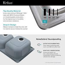 kraus 33 inch topmount 60 40 double bowl 18 gauge stainless steel kitchen sink with
