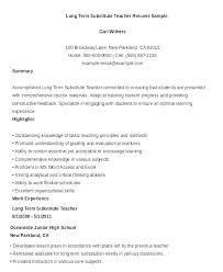 Long Term Substitute Teacher Resume New Substitute Lesson Plan Template