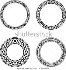 Set Four Black Circle Design Elements Stock Vector