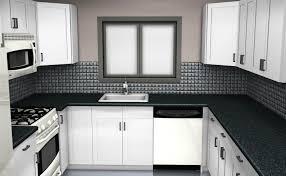 U Shape Kitchen Layout Black Mahogany Cabinet With White Marble U Shaped Kitchen Design