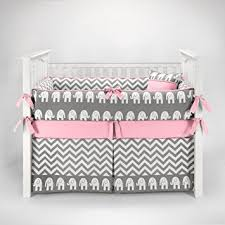 Amazon Elephant Chevron Zig Zag Gray & Pink Baby Bedding