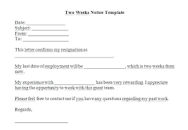 Writing Two Weeks Notice Two Week Notice Letter Template Perfect Print Printable Word Format