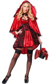 women s y dark red riding hood deluxe costume