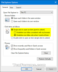 Open Items with Single-Click or Double-Click in Windows 10   Tutorials